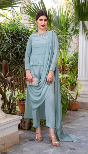 Buy Exclusive Powder Blue Party Wear – AQS236 Online In USA, Uk & Pakistan