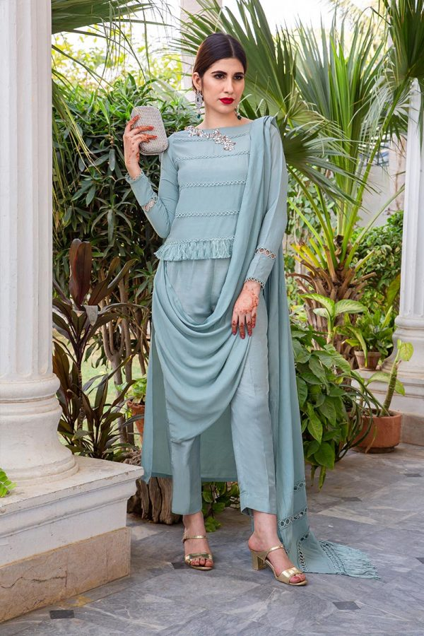 Buy Exclusive Powder Blue Party Wear – AQS236 Online In USA, Uk & Pakistan - 02