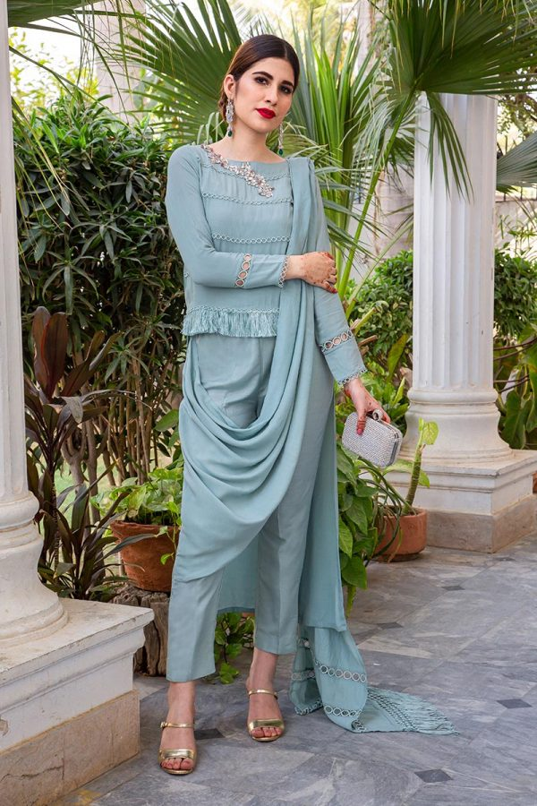 Buy Exclusive Powder Blue Party Wear – AQS236 Online In USA, Uk & Pakistan - 03