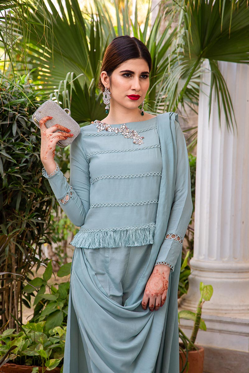 Buy Exclusive Powder Blue Party Wear – AQS236 Online In USA, Uk & Pakistan - 04