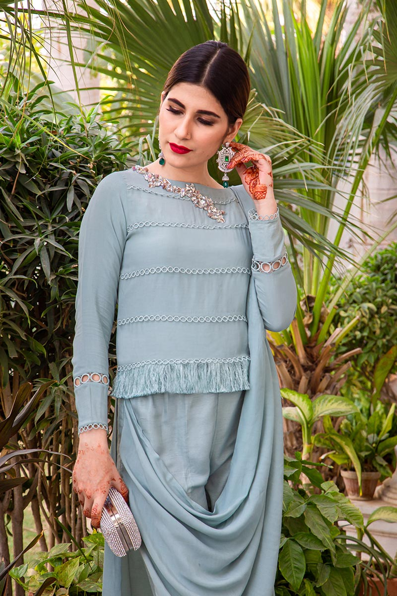 Buy Exclusive Powder Blue Party Wear – AQS236 Online In USA, Uk & Pakistan - 05