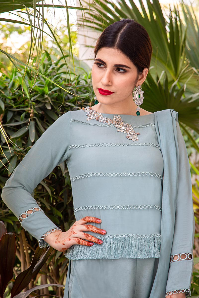 Buy Exclusive Powder Blue Party Wear – AQS236 Online In USA, Uk & Pakistan - 06