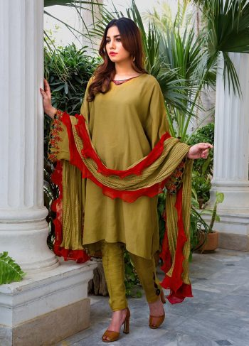 Buy Exclusive Mehndi Green Party Wear – Aqs316 Online In USA, Uk & Pakistan