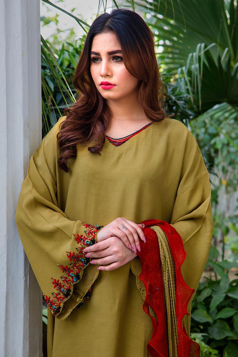 Buy Exclusive Mehndi Green Party Wear – Aqs316 Online In USA, Uk & Pakistan - 02