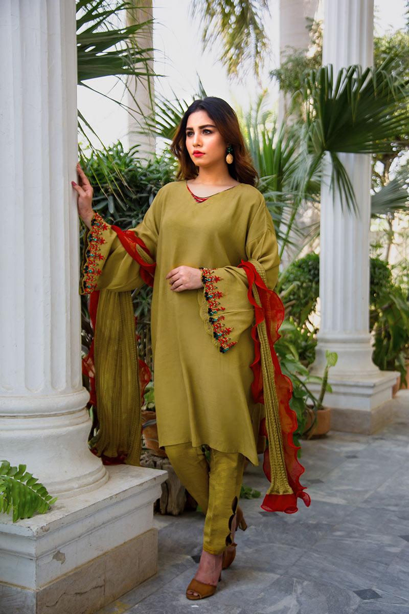 Buy Exclusive Mehndi Green Party Wear – Aqs316 Online In USA, Uk & Pakistan - 03