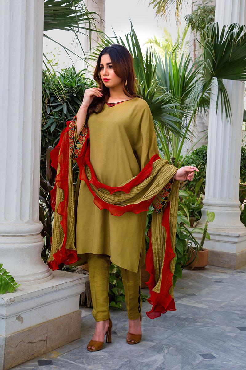 Buy Exclusive Mehndi Green Party Wear – Aqs316 Online In USA, Uk & Pakistan - 04