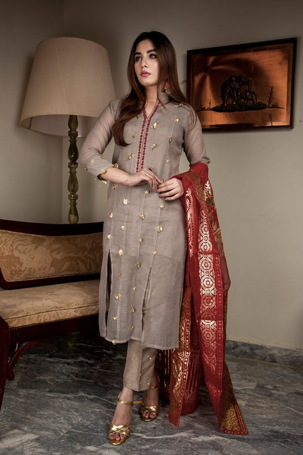 Buy Exclusive Light Gray Luxury Pret – Aqs317 Online In USA, Uk & Pakistan - 03