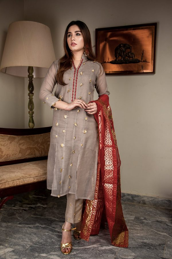 Buy Exclusive Light Gray Luxury Pret – Aqs317 Online In USA, Uk & Pakistan - 04