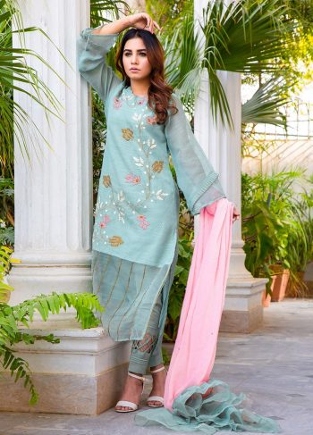 Buy Exclusive DUSAty Green Party Wear – Sds369 Online In USA, Uk & Pakistan