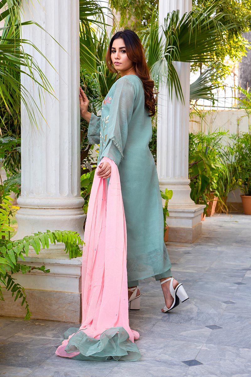 Buy Exclusive DUSAty Green Party Wear – Sds369 Online In USA, Uk & Pakistan - 02