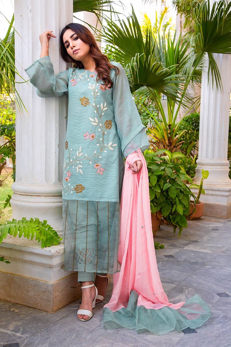 Buy Exclusive DUSAty Green Party Wear – Sds369 Online In USA, Uk & Pakistan - 06