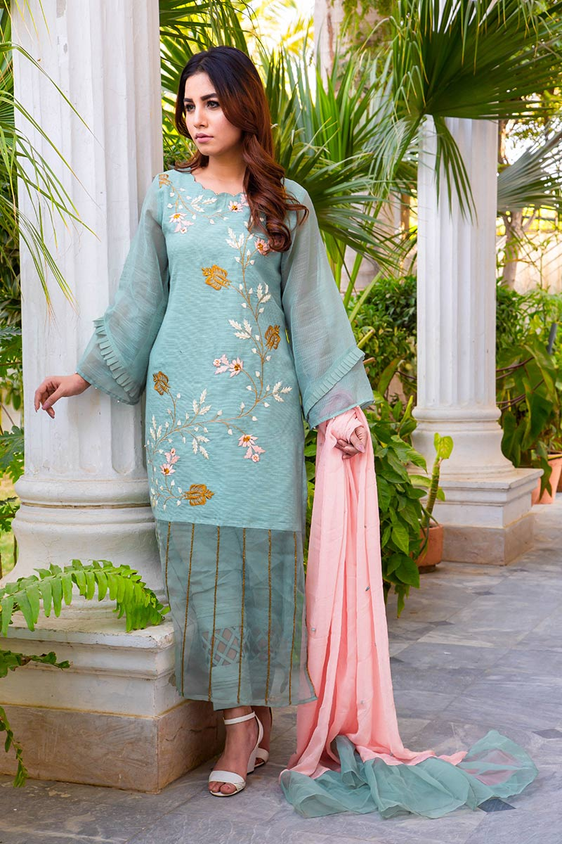 Buy Exclusive DUSAty Green Party Wear – Sds369 Online In USA, Uk & Pakistan - 07