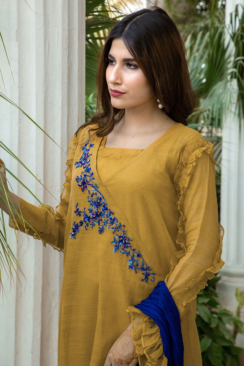 MUSTARD AND BLUE PARTY WEAR
