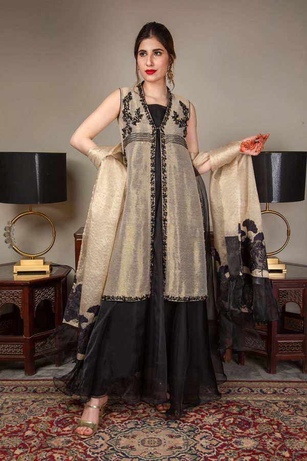 Buy Exclusive Gold And Black Luxury Pret – Sds489 Online In USA, Uk & Pakistan - 06
