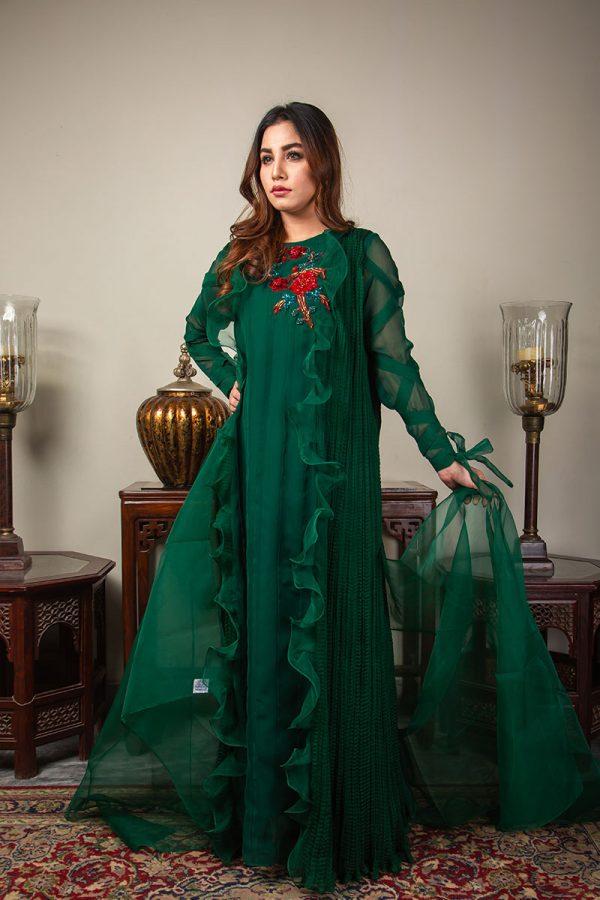 Buy Exclusive Emerald Green Luxury Pret – Sds492 Online In USA, Uk & Pakistan - 04