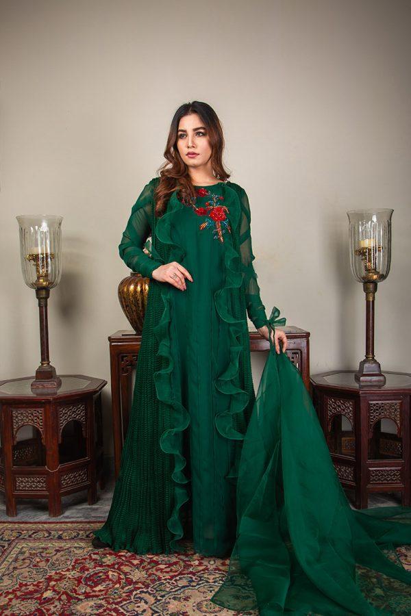 Buy Exclusive Emerald Green Luxury Pret – Sds492 Online In USA, Uk & Pakistan - 06