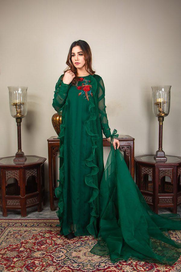 Buy Exclusive Emerald Green Luxury Pret – Sds492 Online In USA, Uk & Pakistan - 07