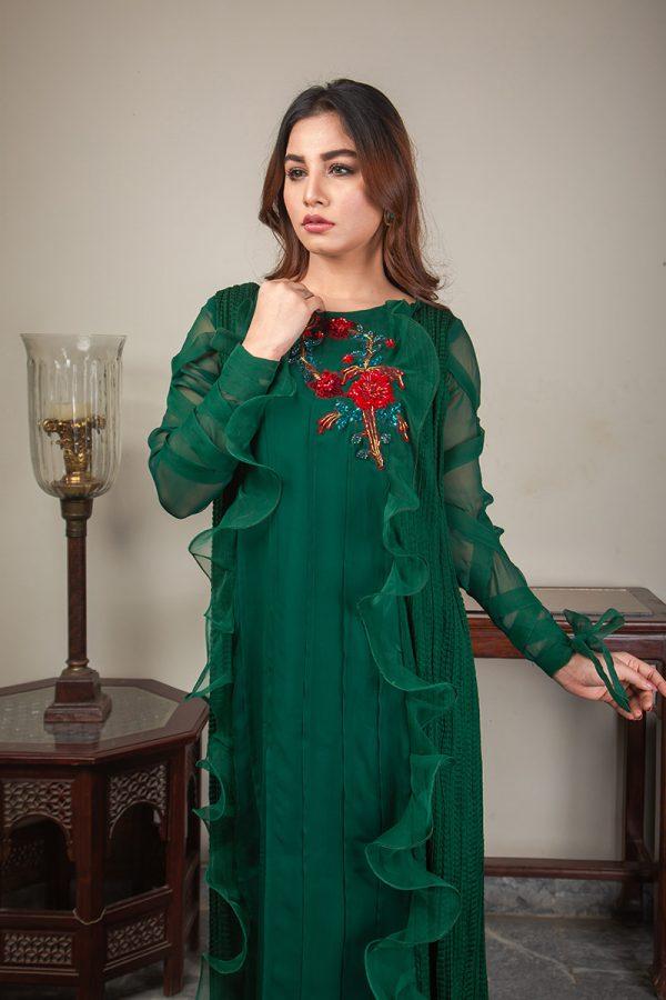 Buy Exclusive Emerald Green Luxury Pret – Sds492 Online In USA, Uk & Pakistan - 02