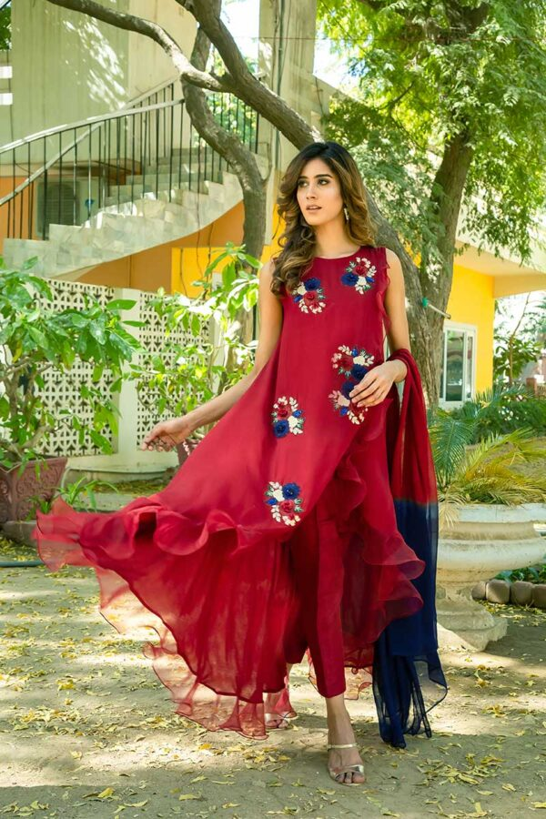 Buy Exclusive Deep Maroon Party Wear – Sds461 Online In USA, Uk & Pakistan