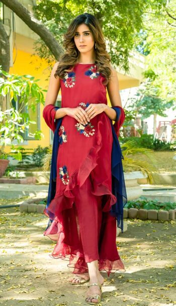 Buy Exclusive Deep Maroon Party Wear – Sds461 Online In USA, Uk & Pakistan - 01