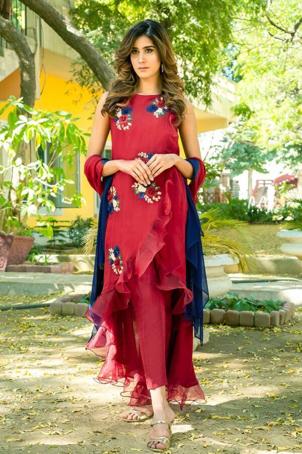 Buy Exclusive Deep Maroon Party Wear – Sds461 Online In USA, Uk & Pakistan - 01