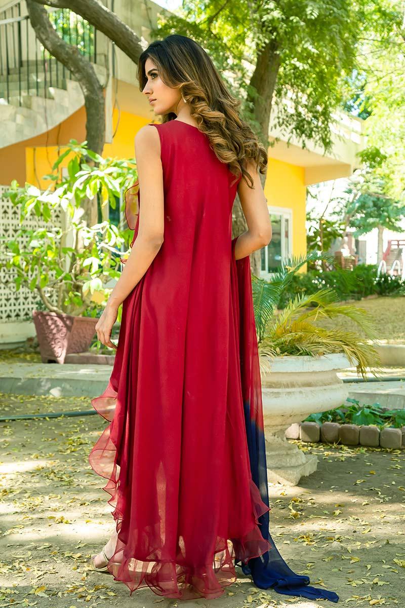 Buy Exclusive Deep Maroon Party Wear – Sds461 Online In USA, Uk & Pakistan - 02