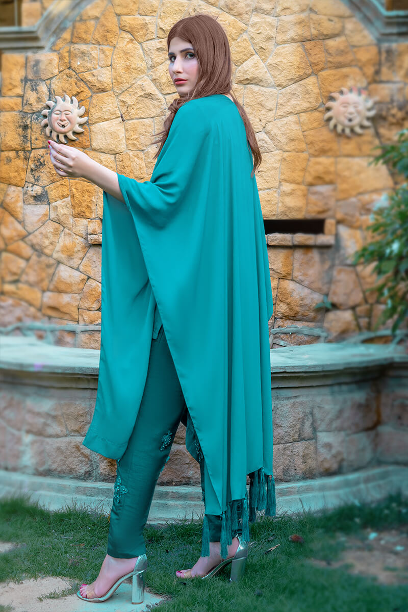 Buy Exclusive See Green Party Wear – Aqs10Online in UK, US & Pakistan - 02