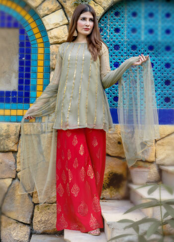 Buy Exclusive Light Green And Red Luxury Pret – Aqs238Online in UK, US & Pakistan