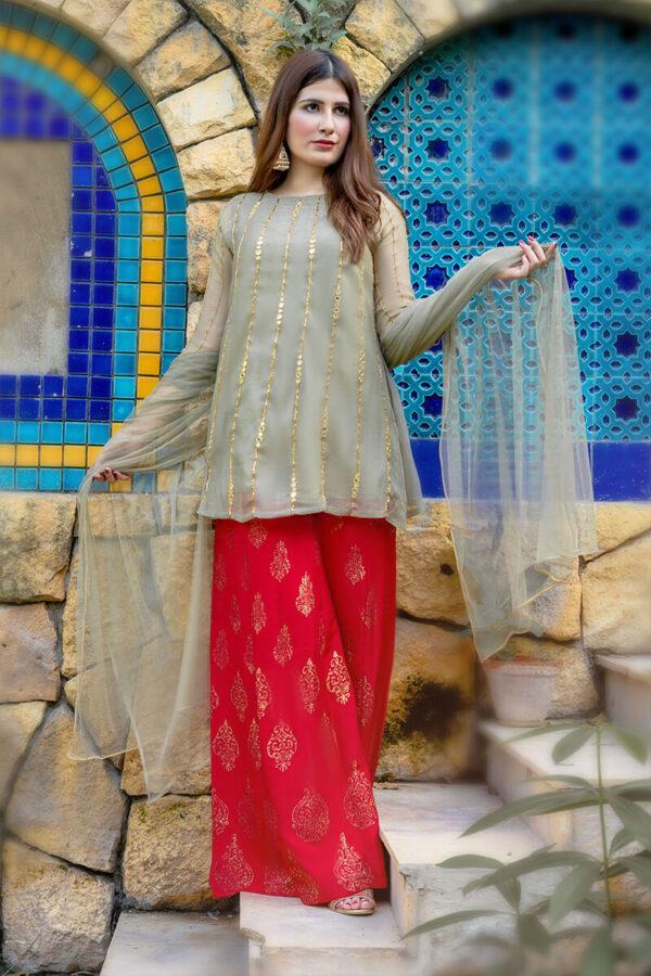 Buy Exclusive Light Green And Red Luxury Pret – Aqs238Online in UK, US & Pakistan