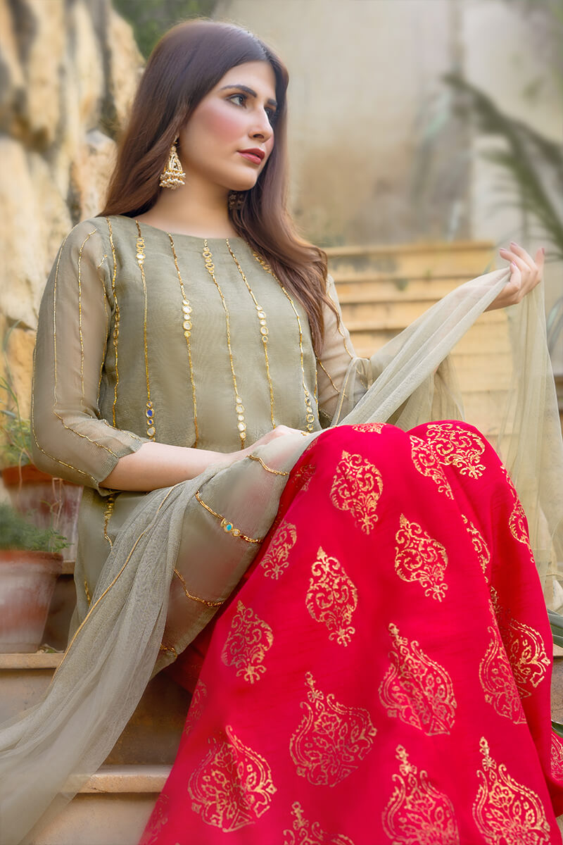 Buy Exclusive Light Green And Red Luxury Pret – Aqs238Online in UK, US & Pakistan - 02