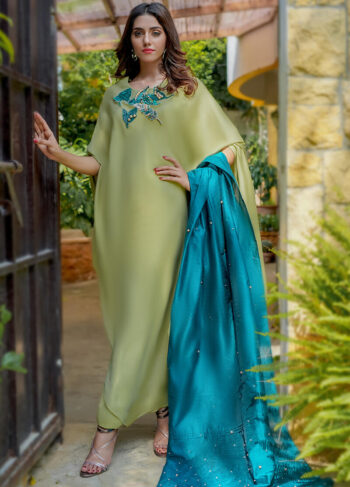 Buy Exclusive Apple Green And Teal Party Wear – Aqs256 Online in UK, USA & Pakistan