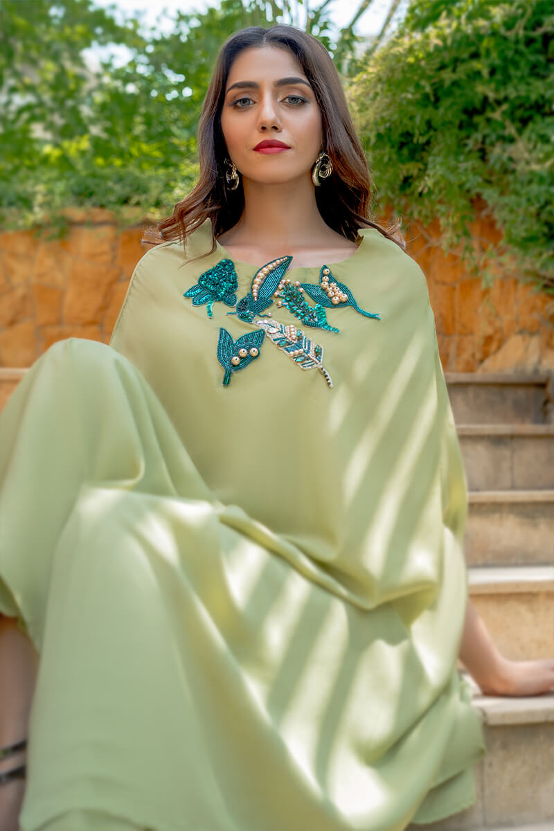 Buy Exclusive Apple Green And Teal Party Wear – Aqs256 Online in UK, USA & Pakistan - 02