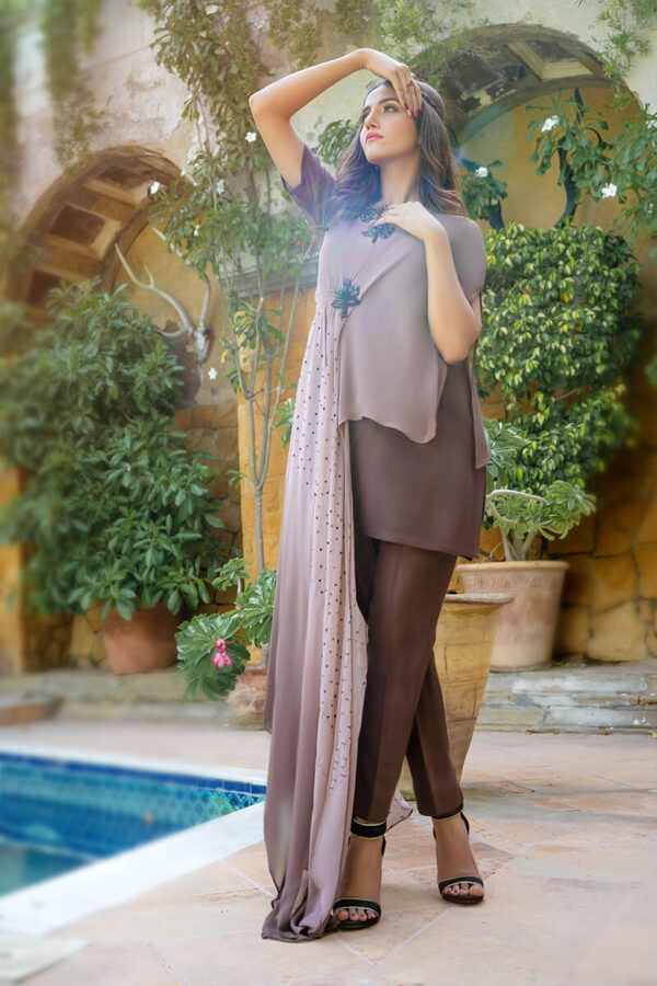 Buy Exclusive Shaded Brown Luxury Pret – Aqs290 Online in UK, USA & Pakistan - 01