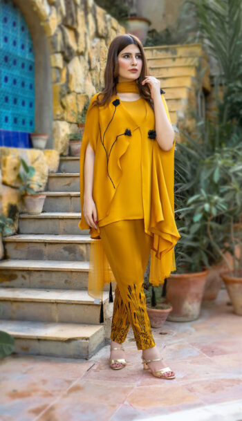 Buy Exclusive Mustard Party Wear – Aqs323 Online in UK, USA & Pakistan