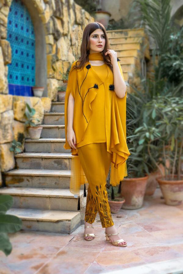 Buy Exclusive Mustard Party Wear – Aqs323 Online in UK, USA & Pakistan
