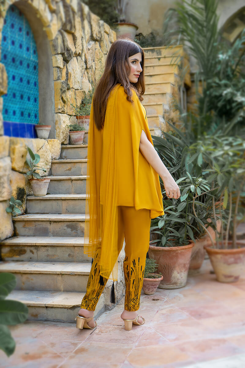 Buy Exclusive Mustard Party Wear – Aqs323 Online in UK, USA & Pakistan - 02