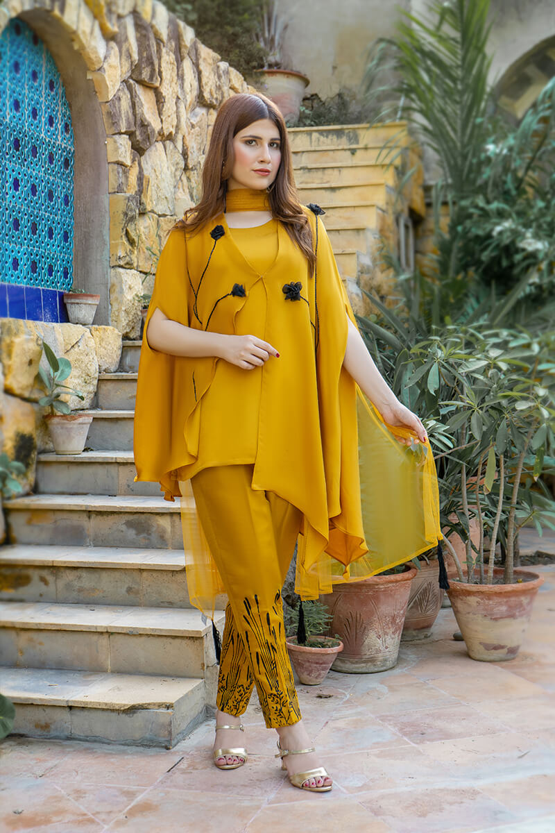 Buy Exclusive Mustard Party Wear – Aqs323 Online in UK, USA & Pakistan - 01