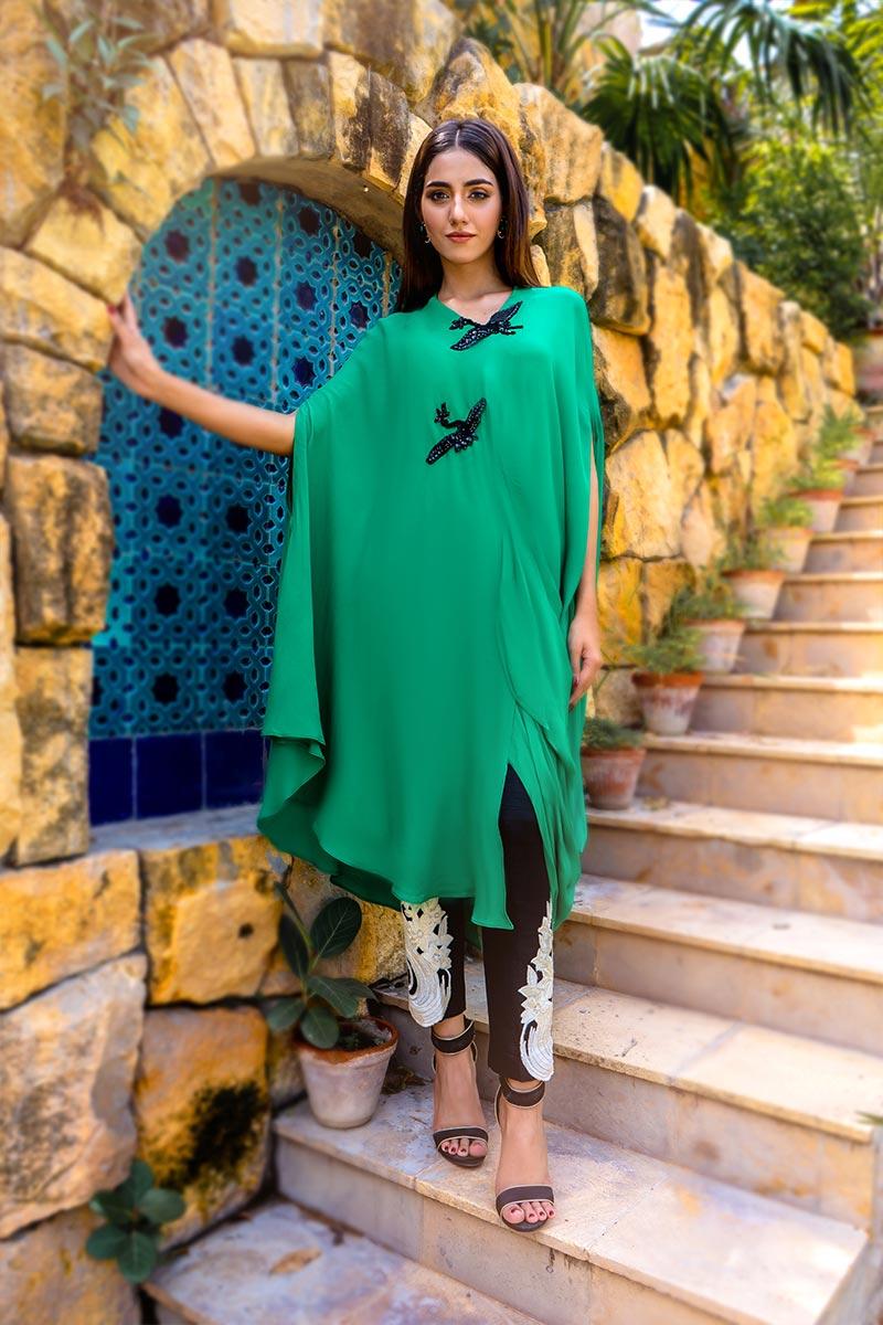 Buy Exclusive Green & Black Party Wear – Aqs340 Online In USA, Uk & Pakistan - 01