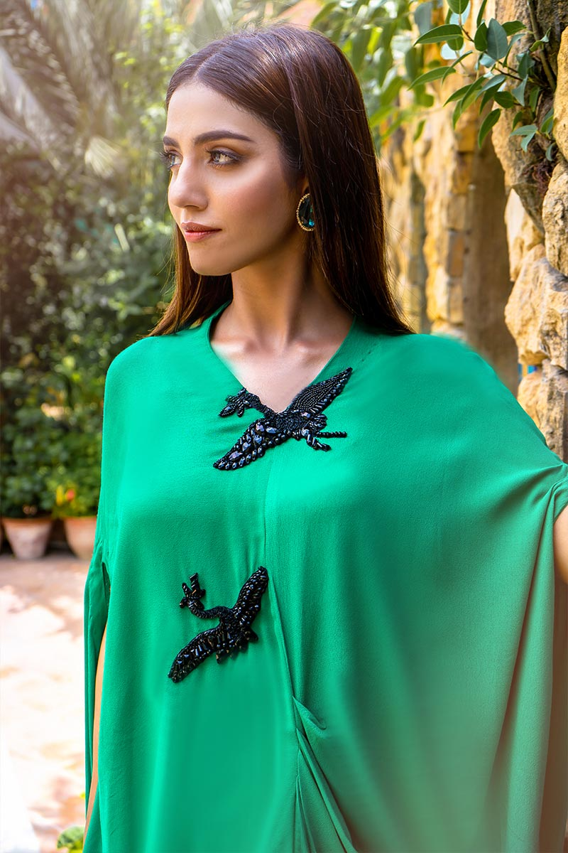 Buy Exclusive Green & Black Party Wear – Aqs340 Online In USA, Uk & Pakistan
