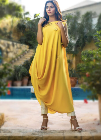 Buy Exclusive Yellow And Off White Party Wear – Aqs342Online in UK, US & Pakistan