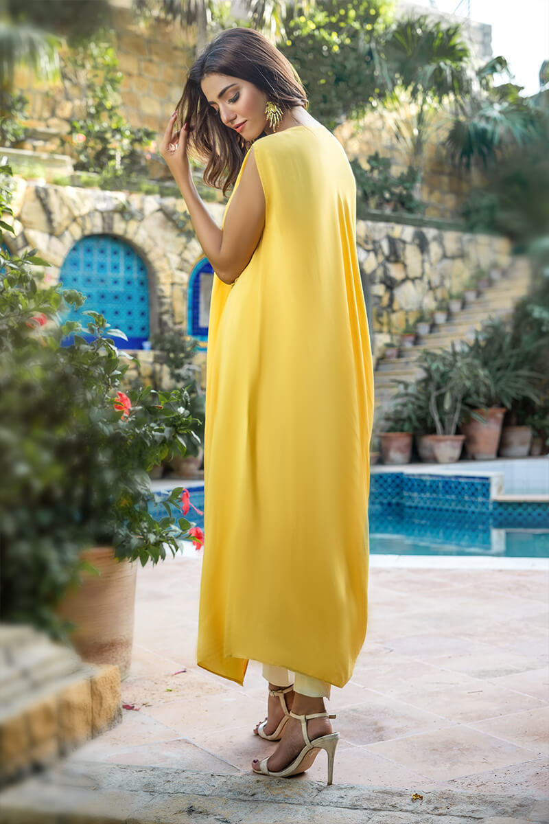 Buy Exclusive Yellow And Off White Party Wear – Aqs342Online in UK, US & Pakistan - 01