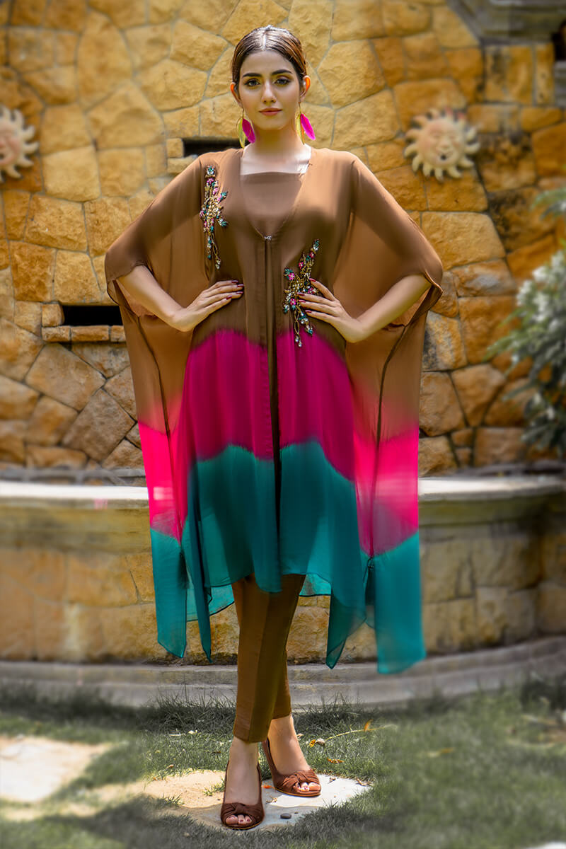 EXCLUSIVE BROWN, PINK AND SEAGREEN LUXURY PRET 2021