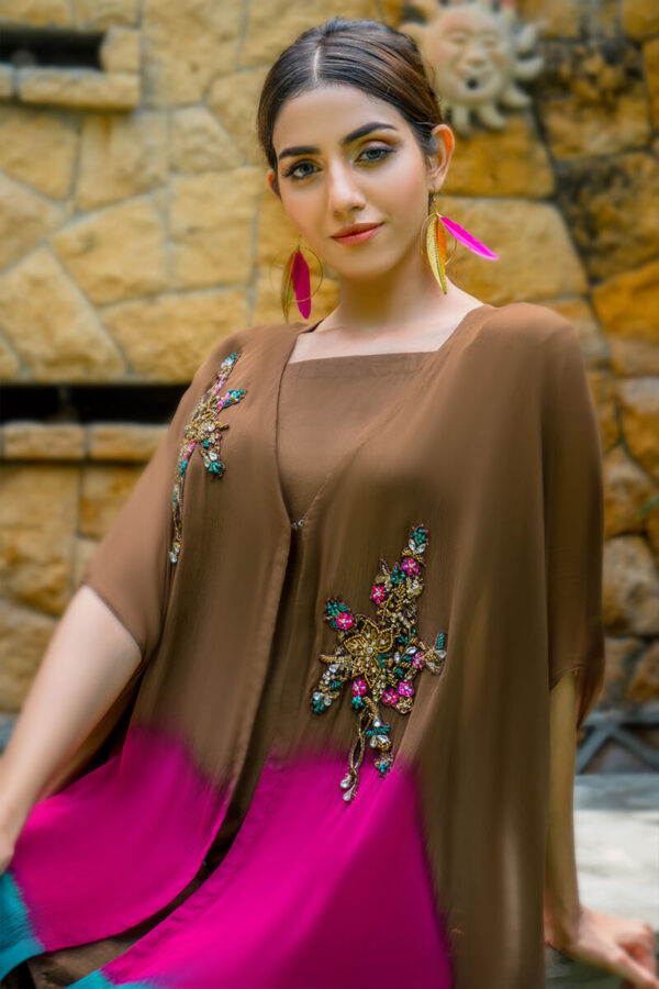 Buy Exclusive Brown, Pink And Seagreen Luxury Pret – Sds499 Online in UK, USA & Pakistan - 02