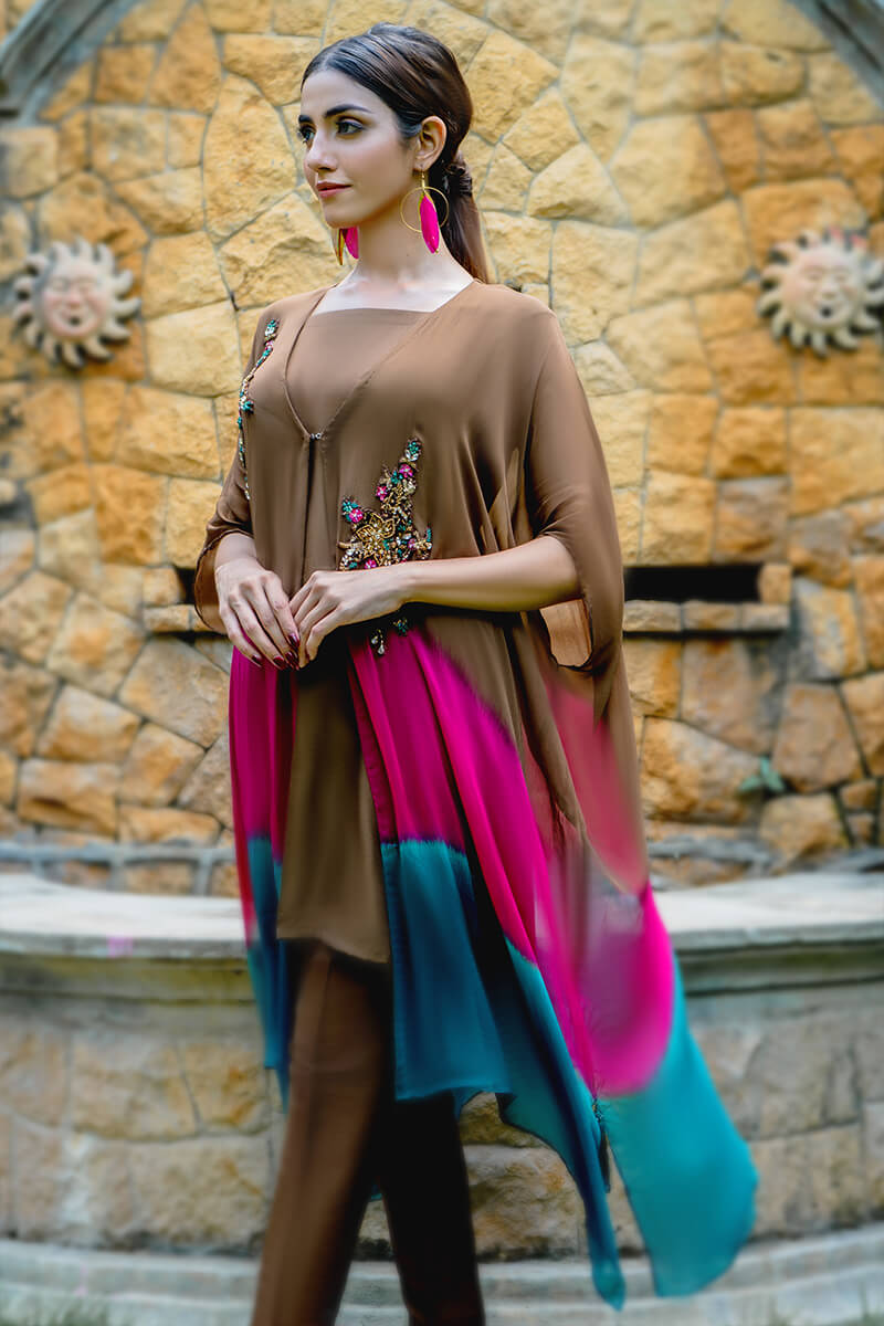 Buy Exclusive Brown, Pink And Seagreen Luxury Pret – Sds499 Online in UK, USA & Pakistan - 01