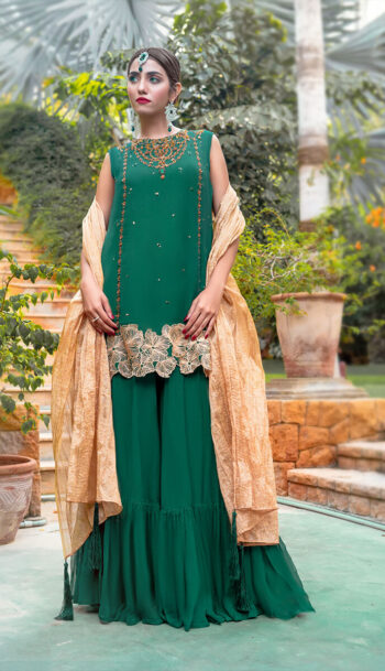 Buy Exclusive Green And Gold Luxury Pret – Sds505Online in UK, US & Pakistan