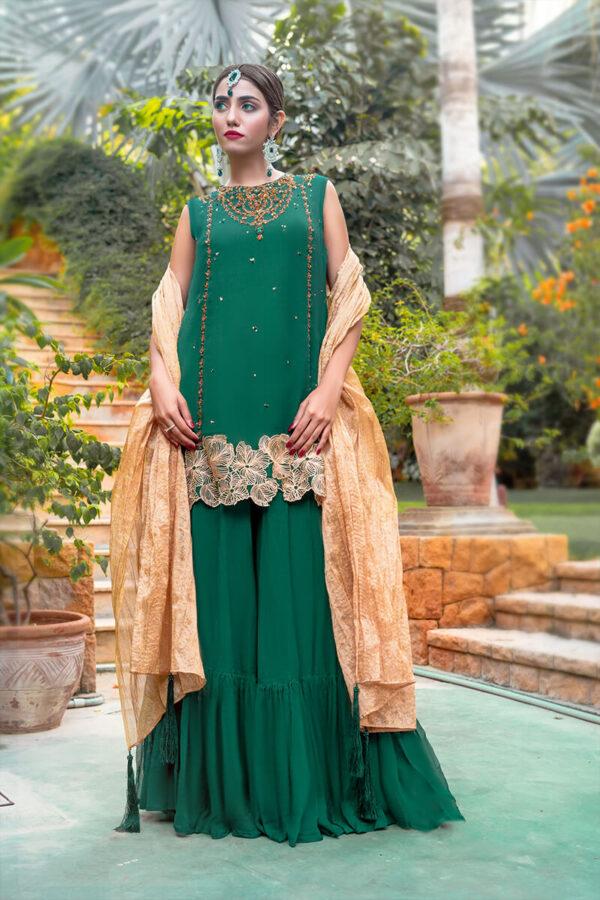 Buy Exclusive Green And Gold Luxury Pret – Sds505Online in UK, US & Pakistan