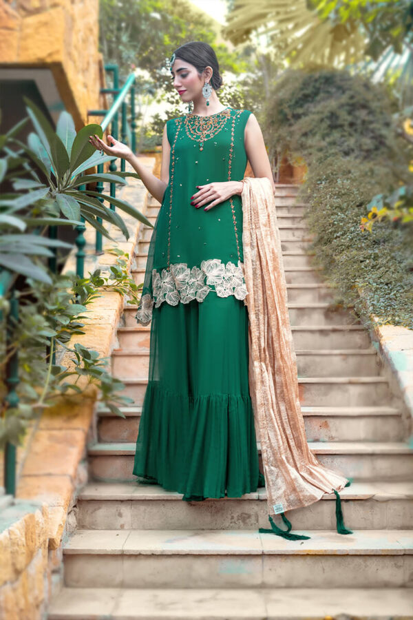 Buy Exclusive Green And Gold Luxury Pret – Sds505Online in UK, US & Pakistan - 01