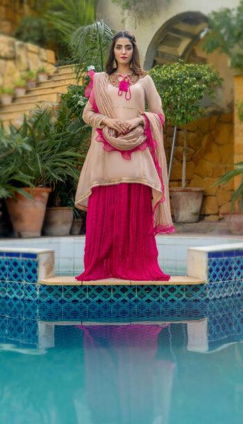 Buy Exclusive Tea Pink And Shocking Pink Luxury Pret – Sds507 Online in UK, USA & Pakistan