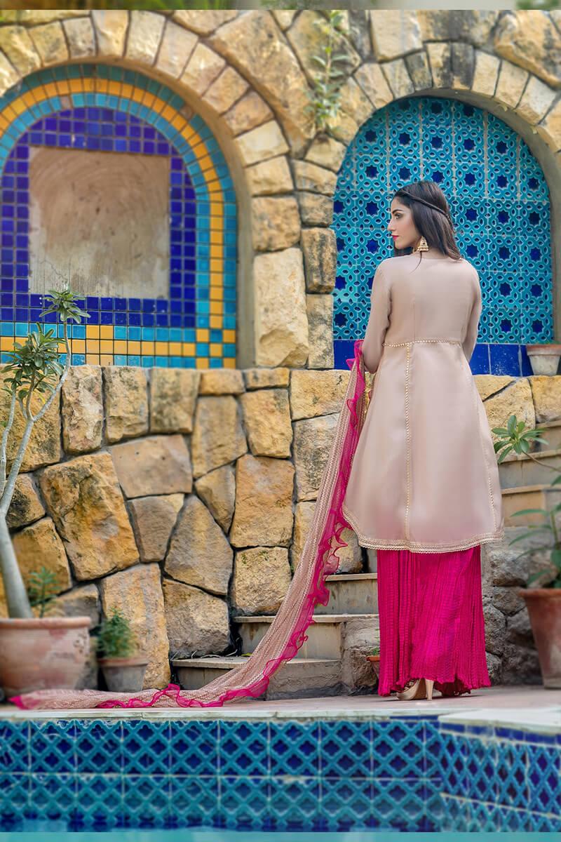 Buy Exclusive Tea Pink And Shocking Pink Luxury Pret – Sds507 Online in UK, USA & Pakistan - 03