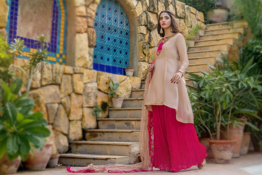 Buy Exclusive Tea Pink And Shocking Pink Luxury Pret – Sds507 Online in UK, USA & Pakistan - 01